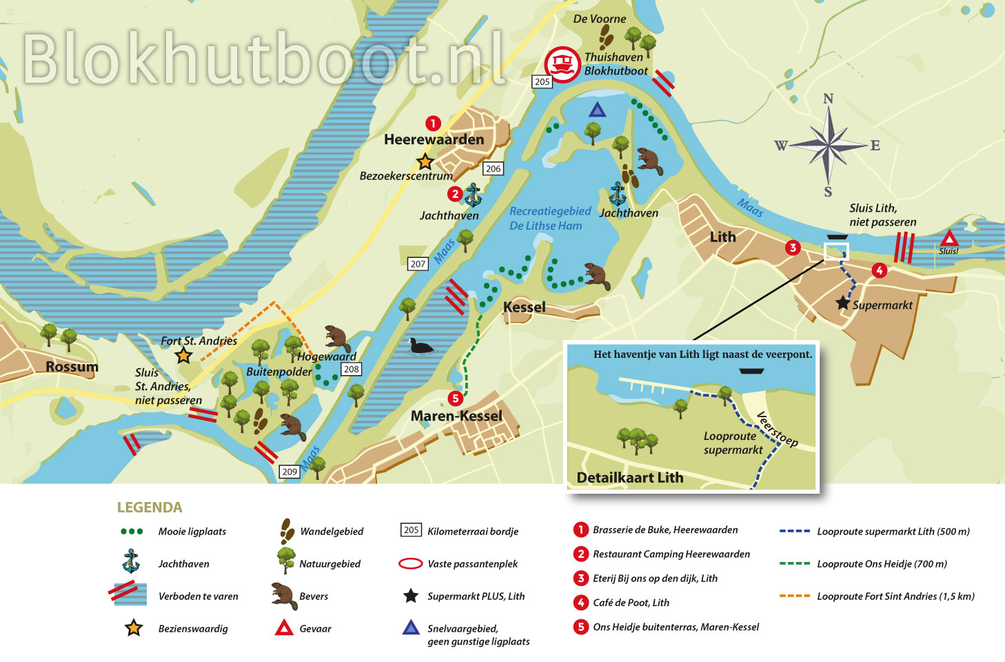 Kaart Blokhutboot, Lithse Ham
