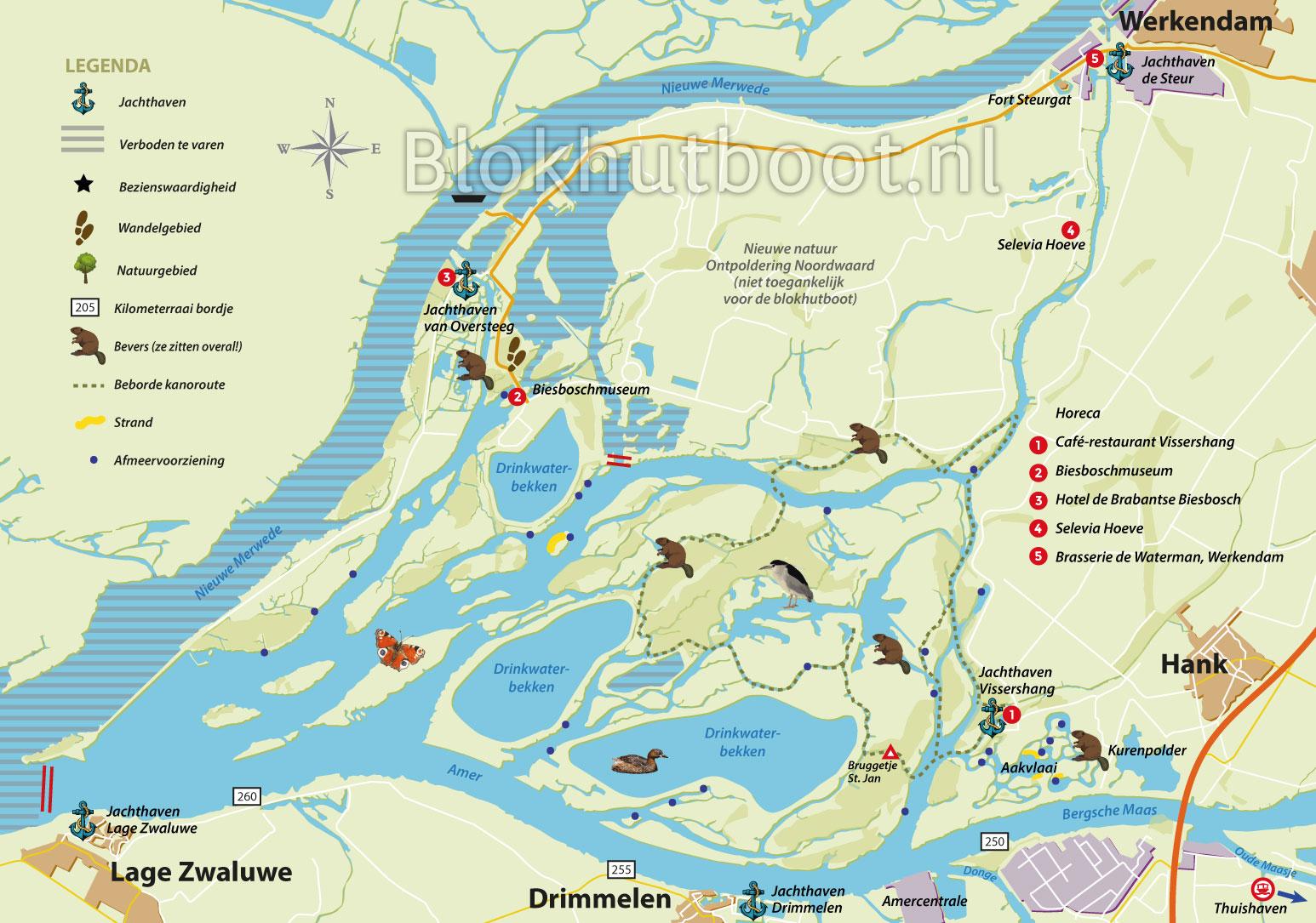 Kaart Biesbosch