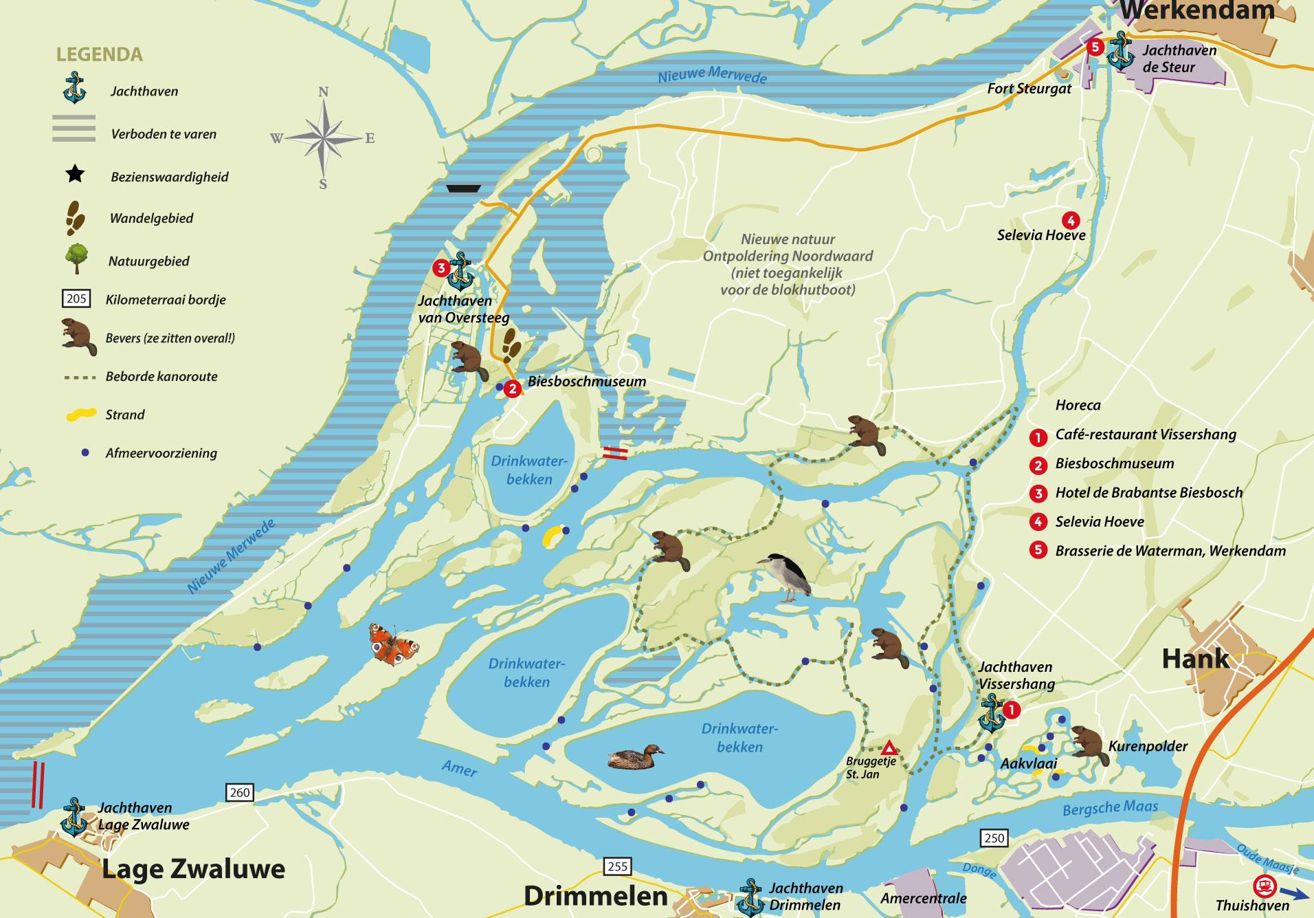 Vaarkaart Biesbosch